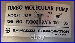 Shimadzu Tmp-2001-lme Turbo Molecular Pump With Controller And Cable